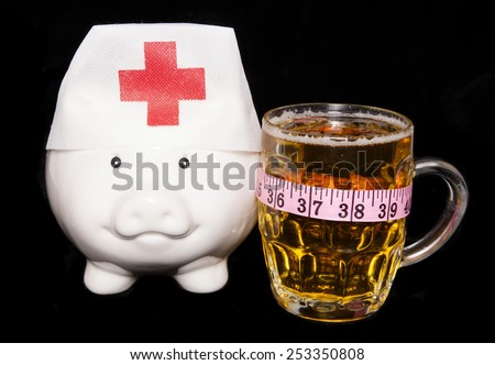 beer causing over weight population piggy bank cutout - stock photo
