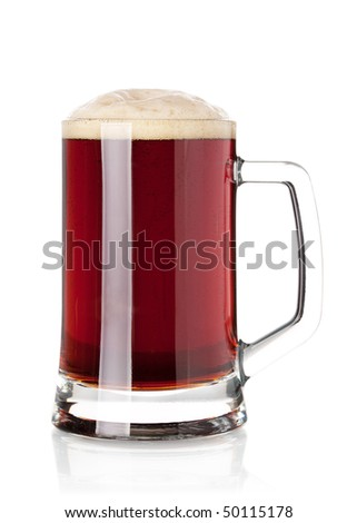 Beer collection - Cold dark beer in glass. Isolated on white background