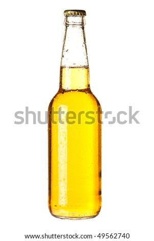 Beer collection - Cold lager beer in bottle. Isolated on white background