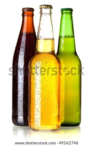 Beer collection - Three beer bottles. Isolated on white background - stock photo