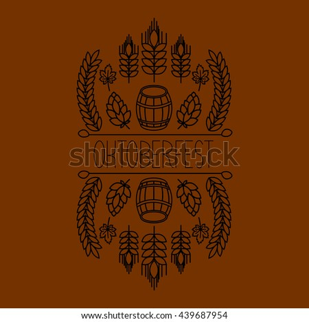 Beer, craft brew house sketch doodle collection, hand drawn label elements. barrel, mug, wheat, hop plant, bottle, leaf.  - stock photo