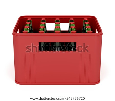 Beer crate on white background  - stock photo