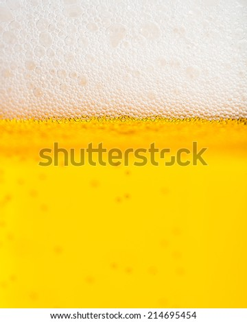 Beer: Detailed section of the foam crown