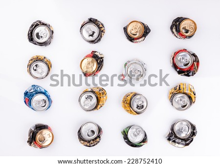 beer drink cans aluminium on white table background  - stock photo