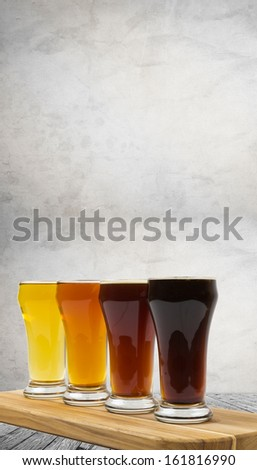 Beer Flight in the Brewery - stock photo