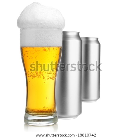 Beer glass and two cans isolated over white background - stock photo