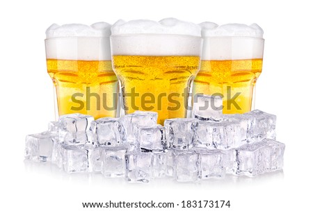 Beer glass in ice isolated on white - stock photo