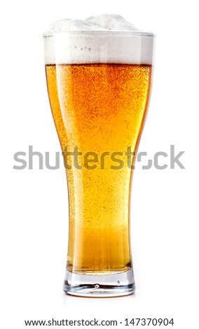 Beer Glass isolated. Beer glass on white background. Overflow beer glass. Beer beverage. Glass of alcohol. Closeup beer glass. Cold Beer. Beer foam. Pint of beer. Bar drink. - stock photo