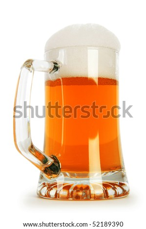 Beer glass isolated on the white background - stock photo