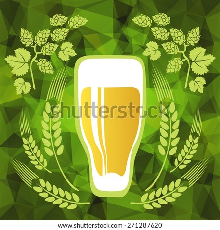 Beer glass on a green polygonal background. - stock photo