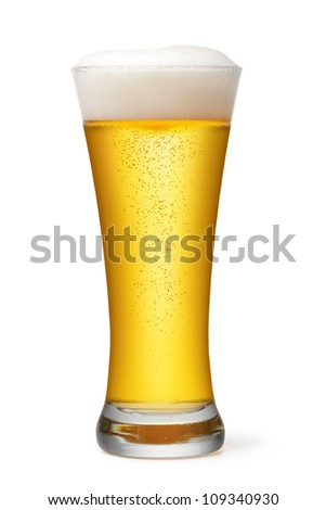 Beer glass on a white background - stock photo