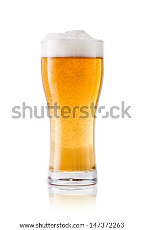 Beer glass on white background. Bar drink.