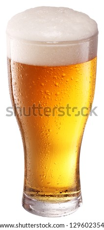 Beer glass on white background. File contains a clipping path. - stock photo