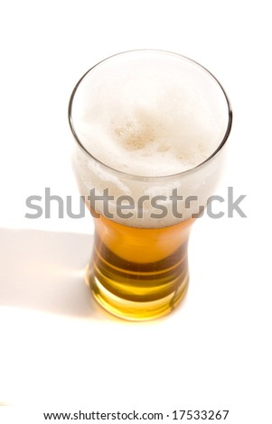 Beer glass on white ground - stock photo