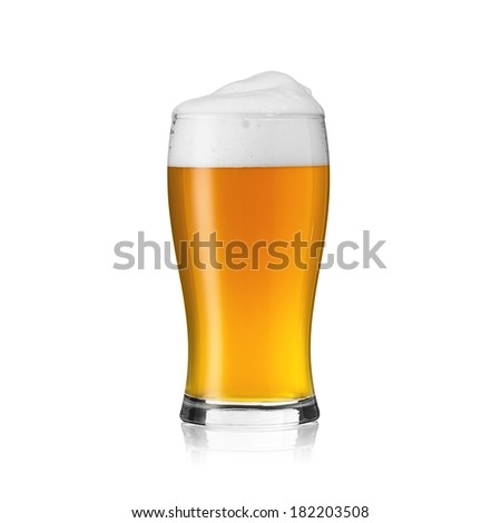 Beer glass with beer foam crown golden party alcohol brewery cutout on white background