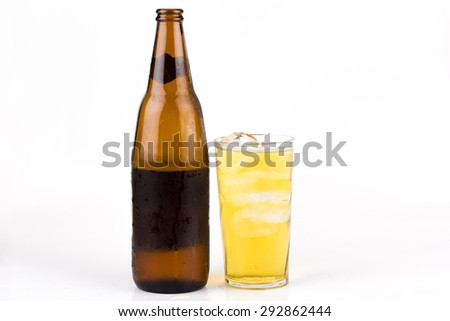 Beer glass with ice - stock photo