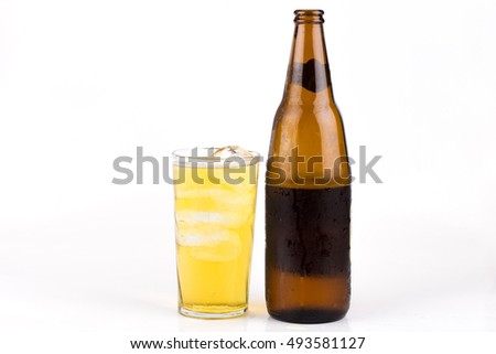 Beer glass with ice