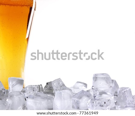 Beer glass with ice cubes