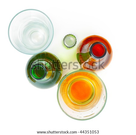 Beer glasses and bottles - stock photo