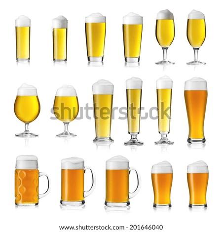 Beer Glasses Collage set K�¶lsch beer wheat seidel oktoberfest - stock photo