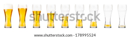 Beer glasses. Drinking sequence. Isolated on white.