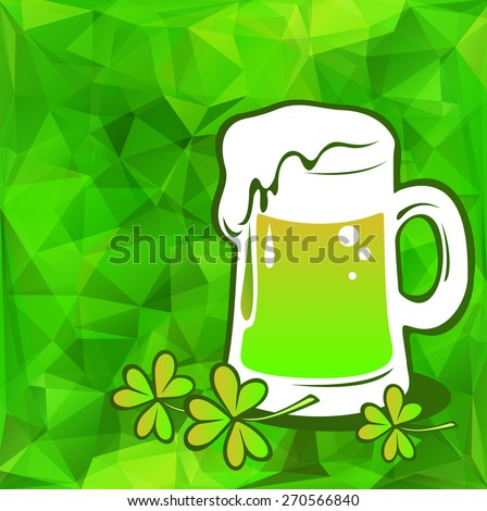 Beer green glass on a green polygonal background. - stock photo