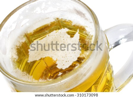 Beer head  in the shaped of Australia and a beer.(series) - stock photo
