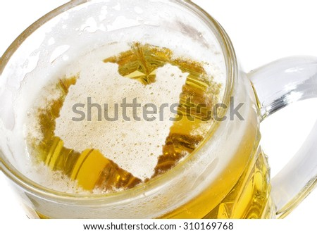 Beer head  in the shaped of Libya and a beer.(series) - stock photo