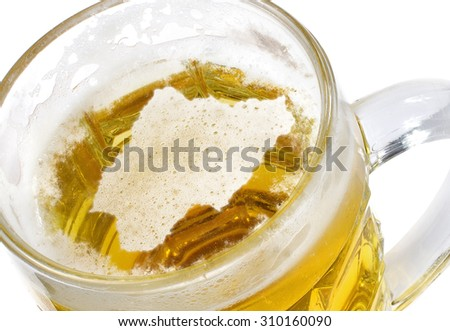 Beer head  in the shaped of Nigeria and a beer.(series) - stock photo