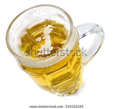Beer head  in the shaped of United Kingdom and a beer.(series) - stock photo