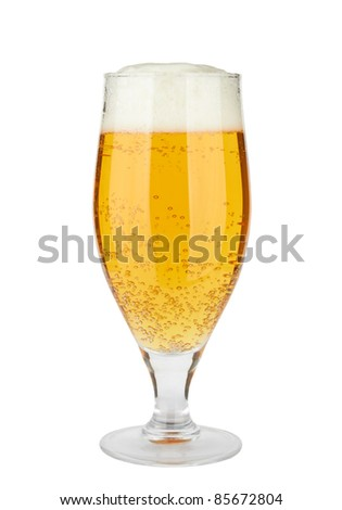 Beer in a glass, isolated, white background