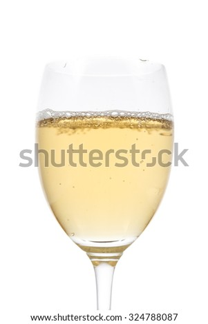 beer in a glass on white background