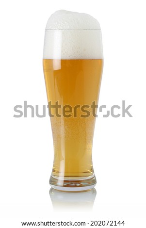Beer in a glass with foam, isolated on a white background