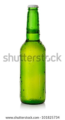 Beer in a green bottle - stock photo