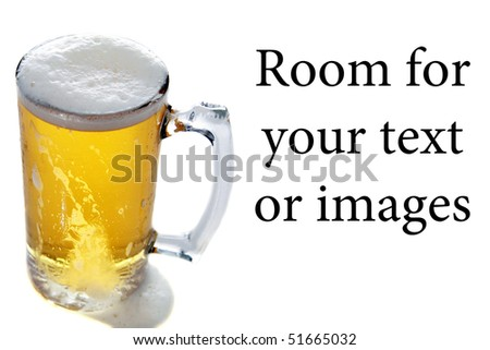 beer in a large frosted mug on white with reflections with room for your text or images - stock photo
