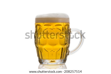 Beer in Beer mug glass on white background - stock photo