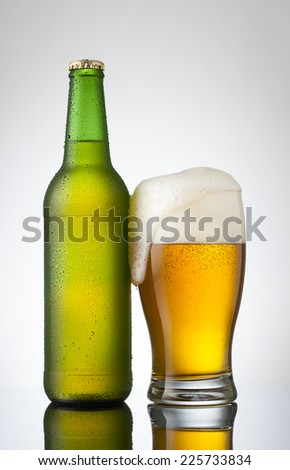 Beer in glass and bottle - stock photo