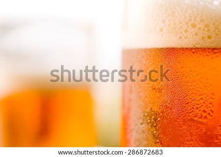 Beer in glass in detail