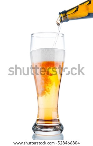 Beer in glass on isolated on white background