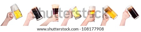 beer in hand collection isolated on a white background - stock photo