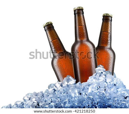 Beer in ice - stock photo