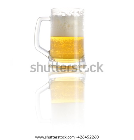 beer in  mug close up - stock photo