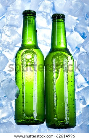 Beer is in ice - stock photo