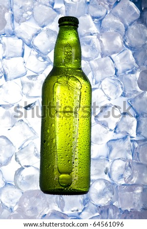 Beer is in ice, cold, cool background - stock photo