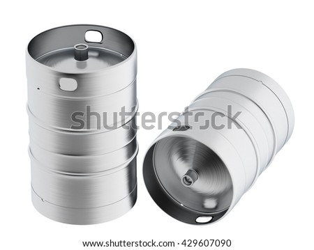 Beer kegs. Isolated on white background include clipping path. 3d render - stock photo