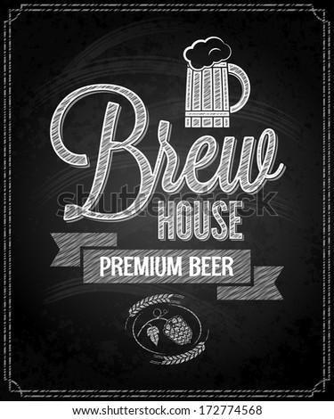 beer menu design house chalkboard background illustration - stock photo