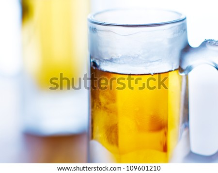 beer mug closeup with selective focus. - stock photo