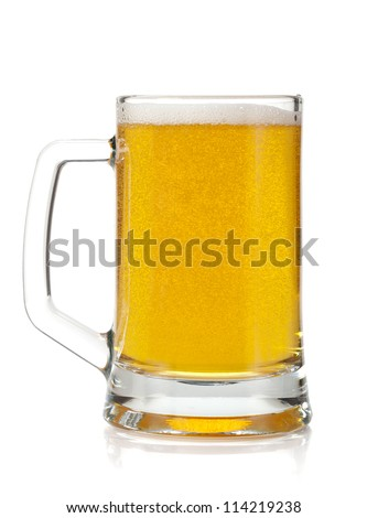 Beer mug. Isolated on white background - stock photo