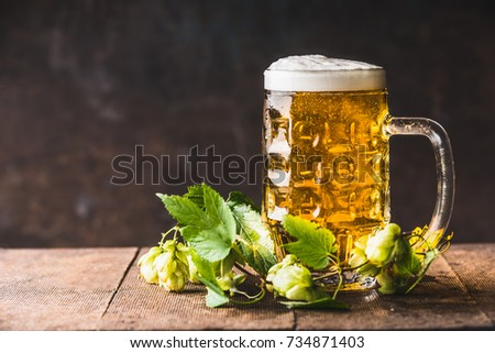 Beer mug with cap of  foam on table with fresh hops at dark rustic background, front view