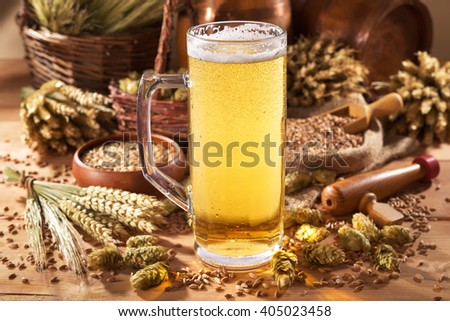 beer mug with hops, wheat, grain, barley and malt - stock photo